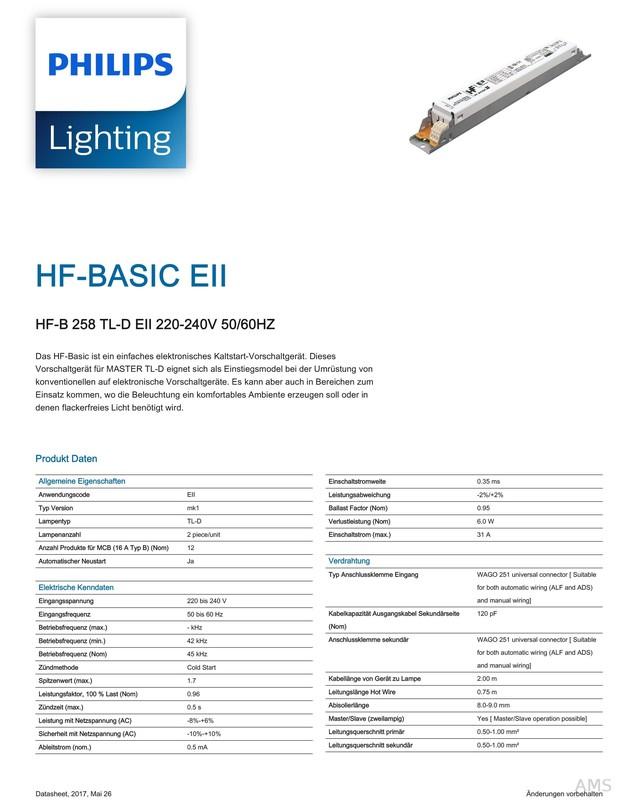 Philips Electronic Ballast HF-R 258 TLD EII