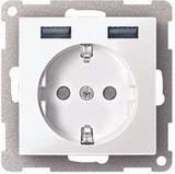 Merten MEG2366-0319 Steckdose mit USB Ladegerät TPb Polarweiß